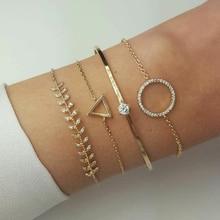 docona Gold Color Crystal Triangle Round Bracelet Bangle Set