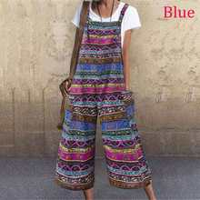 2020 VONDA Summer Romper Women Jumpsuit Calf-Length Wide Leg Pants Plus Size Casual Pockets Playsuits Vintage Print Overall(China)