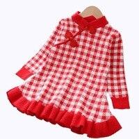 Children's Wear Skirt Chinese Style Retro Plaid Cheongsam Dress Girls Knit Dress Autumn Dress Toddler Girl Winter Clothes
