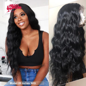 Wig Human-Hair-Wigs Lace Closure Virgin-Hair Lace-Front Loose-Wave Pre-Plucked Natural-Black