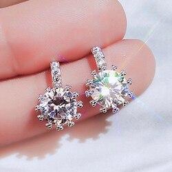 Huitan Dazzling Cubic Zircon Women Stud Earring Crystal Silver Color Delicate Female Earrings Party Fancy Gift Fashion Jewelry