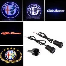 2X Proyector láser con logotipo del coche LED de luz de la puerta para Alfa Romeo 5 147 de 159 GT Giulietta 156 Mito 166 Brera Spider 05 164, 155, 146, 145 4C 8C