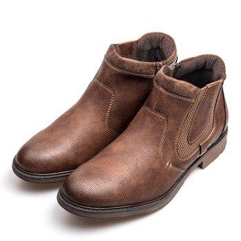 ZYYZYM Men Boots Leather 2020 Autumn Winter Vintage Style Ankle Short Chelsea Boot Man Footwear Botas Hombre autumn new british style men s chelsea boots luxury brand leather casual men ankle boots vintage martin botas formal dress shoes