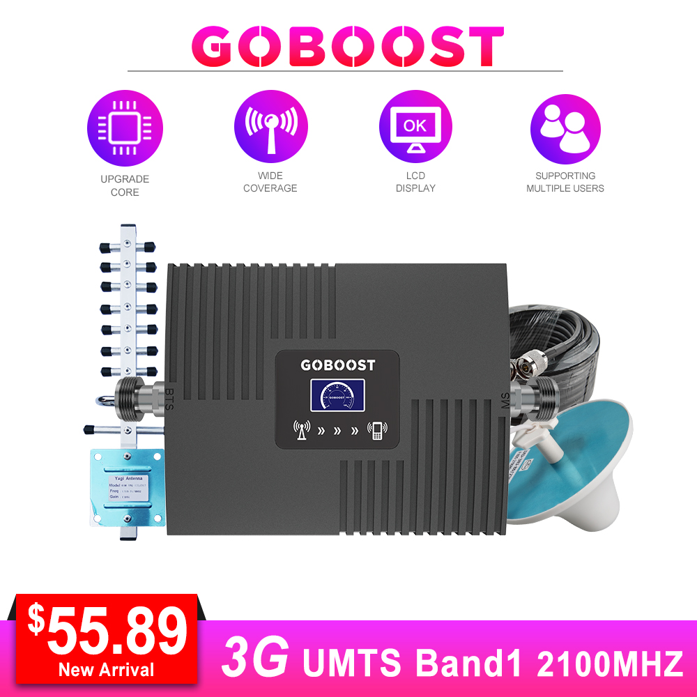 Amplifier 3g Cellular Signal Booster 2100mhz Mobile Signal Booster LCD Display Repeater UMTS 3G 2100mhz Yagi Antanna 13m Cable #