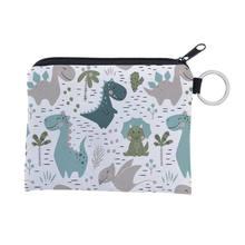 Unisex dos desenhos animados dinossauro padrão moeda cartão chaveiro carteira bolsa mini bolsa zíper pequena bolsa de mudança