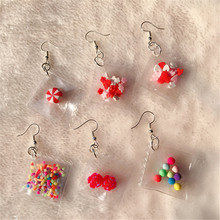 1 pair Cute Candy with flower New design stylish drop earrings for women girls elegant Adorable Funny fashion jewelry Earrings pair of stylish double end crack bead earrings for women