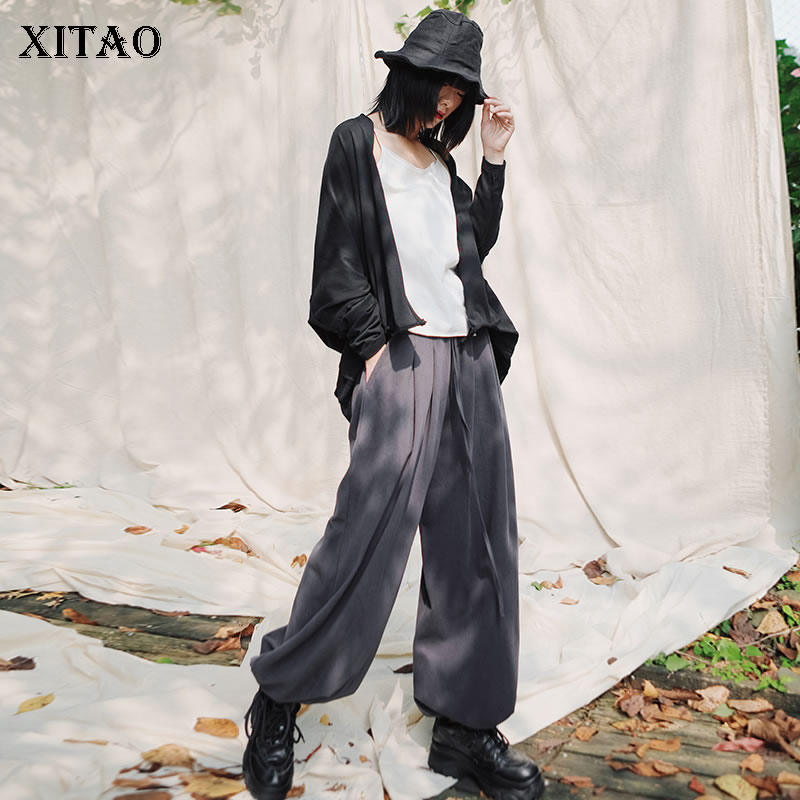 XITAO High Waist Pleated Wide Leg Pants Fashion Elastic Waist Drawstring 2020 Spring Summer Casual Style Loose Pants ZLL4792