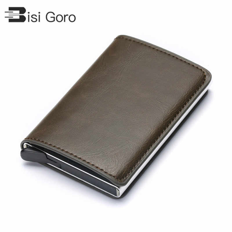 BISI GORO RFID Aluminium Alloy Credit Card Holder PU Leather Card Wallet Card Holder for Men Women Automatic Pop Up Card Case