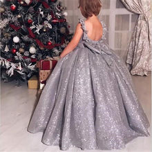 2020 Silver Flower Girl Dresses For Weddings Ball Gown Long Sleeves Tulle Ruffles Long First Communion Dresses For Little Girls(China)