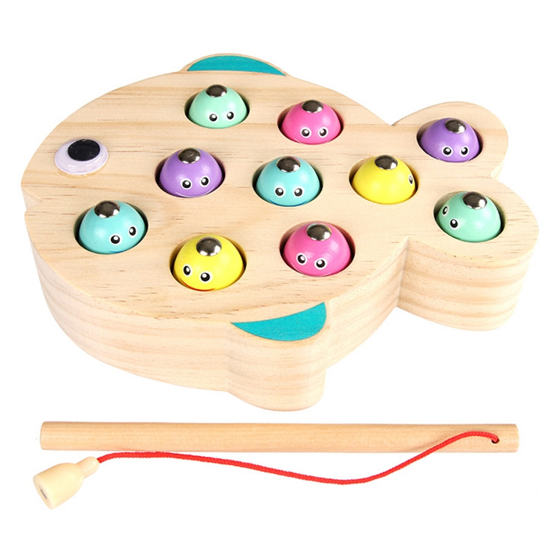 Children Wooden Magnetic Fishing Game Educational Toys For Kids Outdoor Garden Fish Toy Magnet Fishing Playing Gift For Children