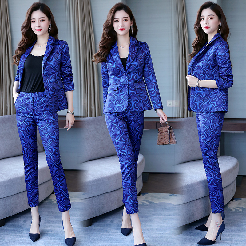 Famous Yuan Hong Kong style new women's wear professional suit printed small suit trousers show thin two-piece fashion 17