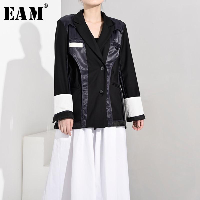 [EAM]  Women Black Contrast Color Vent Blazer New Lapel Long Sleeve Loose Fit Jacket Fashion Tide Spring Autumn 2020 JU17901