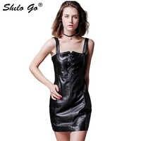 SHILO GEHEN Leder Overalls Kleid Herbst Mode schaffell echtes leder Kleid brief sexy vorne einstellbar ärmelloses kleid
