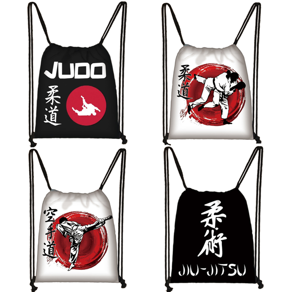 Cool Martial Art Judo / Taekwondo / Karate / Aikido Jujitsu Drawstring Bag Boys Girls Travel Bag Men Storage Bag Causal Backpack