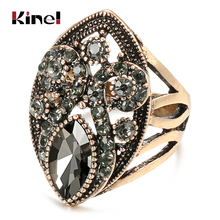 Kinel Luxury Vintage Rings Classic Bohemian Hollow Pattern Ethnic Wedding Rings For Women Turkish Stey Crystal Jewelry Z0387