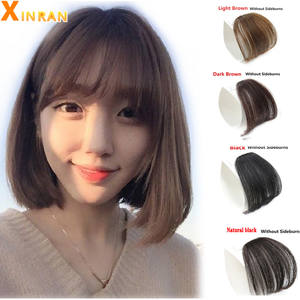 Hairpiece Bangs Clip-On Synthetic Black