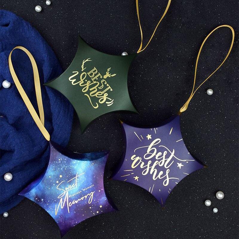 50pcs étoile forme boîte à bonbons ciel étoilé merci faveurs de mariage boîte cadeau paquet bébé douche fête d'anniversaire faveur sacs cadeau de noël