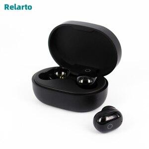 Image 1 - Relarto Bluetooth наушники Bluetooth 5,0 настоящие беспроводные наушники 4 часа прослушивания музыки с зарядным чехлом и светодиодный дисплей
