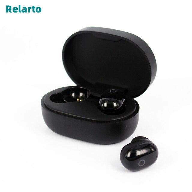 Relarto Bluetooth наушники Bluetooth 5,0 настоящие беспроводные наушники 4 часа прослушивания музыки с зарядным чехлом и светодиодный дисплей