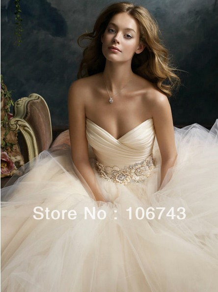 2016 Promotion Free Shipping New Style Best Sexy Bride Custom Size Sweetheart Appliques Beading A-line Bridal Wedding Dresses