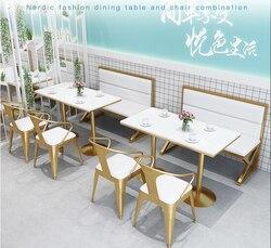 Tee shop karte sitz sofa tisch und stuhl kombination Nordic einfache freizeit net rot restaurant kommerziellen dessert café tisch und c