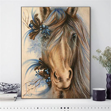 HUACAN Cross Stitch Embroidery Horse Animal Cotton Thread Painting DIY Kits 14CT Needlework DMC Home Decor