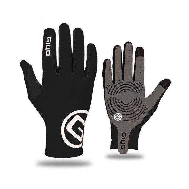 Giyo tela sensível ao toque longo dedos completos gel luvas de ciclismo esportes mtb bicicleta de estrada equitação luvas de corrida 2