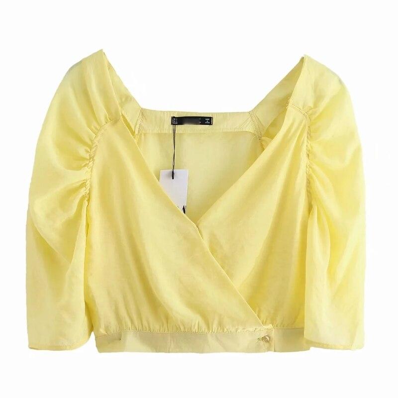 2020 Women Elegant V Neck Solid Color Kimono Smock Blouse Office Lady Vintage Puff Sleeve Shirts Casual Slim Blusas Tops LS6709