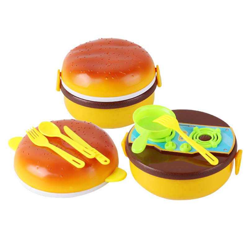 Children kitchen toys mini simulation hamburger box kitchenware tableware set toy for boys girls gifts in Kitchen Toys from Toys Hobbies