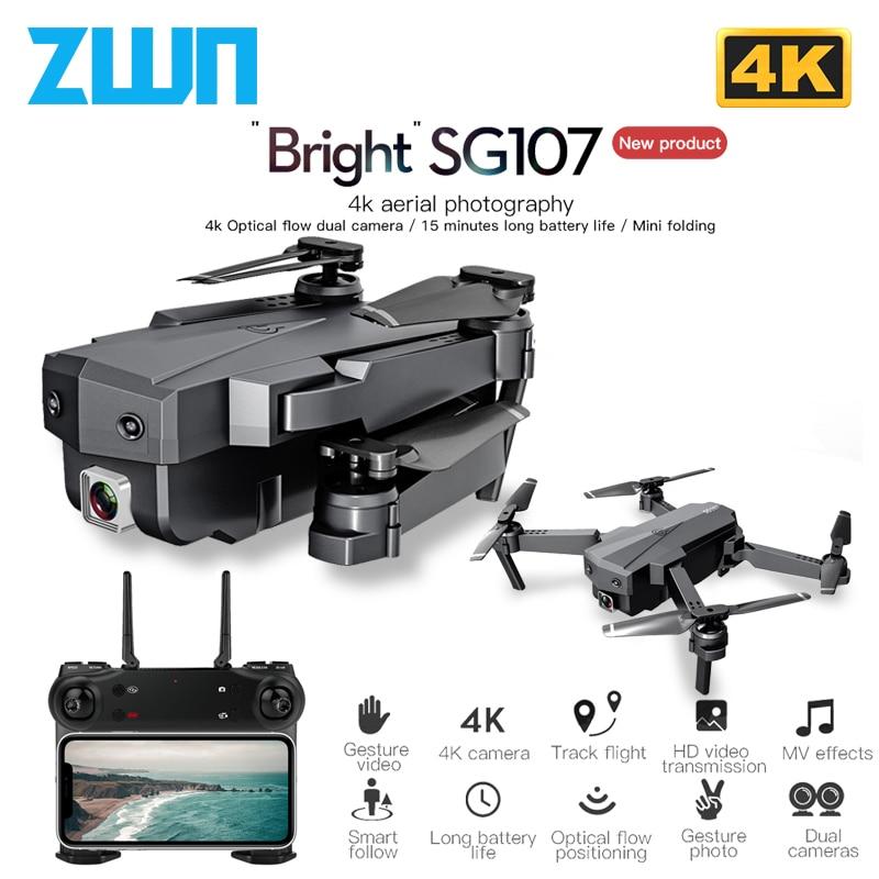 ZWN SG107 Mini Drone with 4K WIFI FPV HD Dual Camera Quadcopter Optical Flow Rc Dron Gesture Control Kids Toy VS E58 E68 SG106(China)
