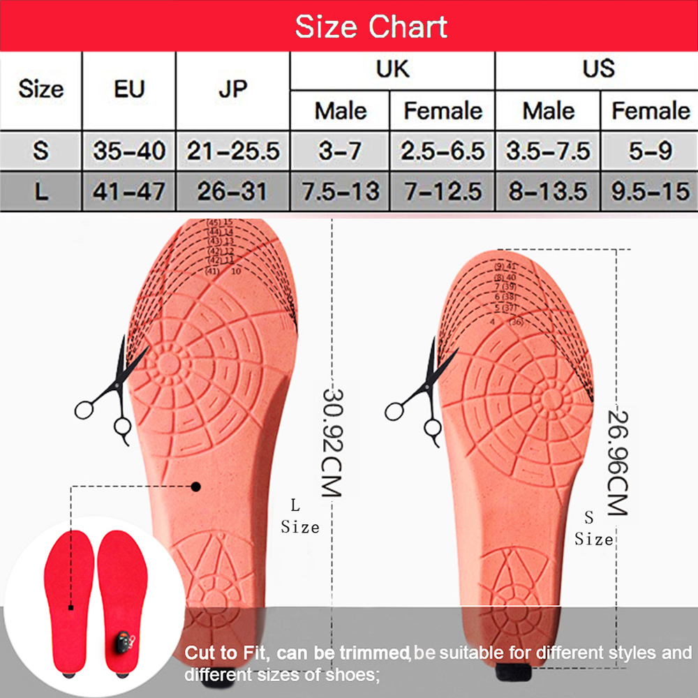Rechargeable Heated Foot Warmers Feet Heater Washable Cut-to-Fit Shoes Insoles
