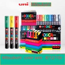 UNI POSCA Marqueur Stylo PC-1M PC-3M PC-5M Pop Affiche Publicitaire Stylo Comic Peinture Tête Ronde Ensemble hydrosoluble Art Marqueur