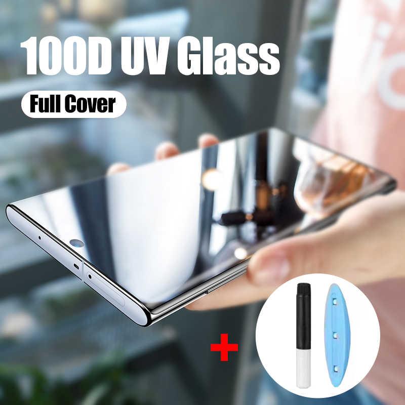 الأشعة فوق البنفسجية الزجاج المقسى لسامسونج غالاكسي S9 S8 S10 زائد نوت 8 9 10 100D واقي الشاشة السائل الكامل للزجاج سامسونج S8 S7 حافة