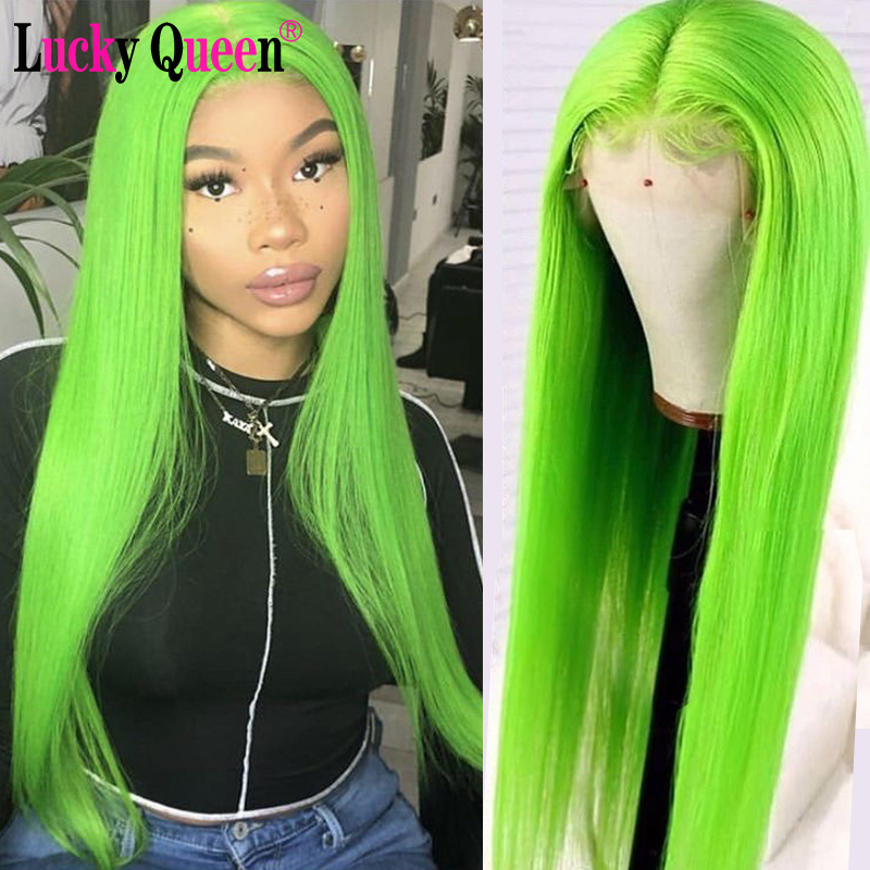 Glueless 150% Platinum Green Human Hair Wigs Pre Plucked Brazilian Remy Straight 13x4 Lace Front Wigs Ombre Red Wigs For Women
