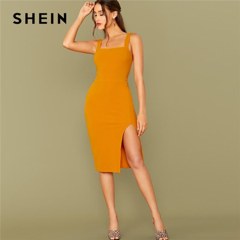 SHEIN Yellow Strap Dress