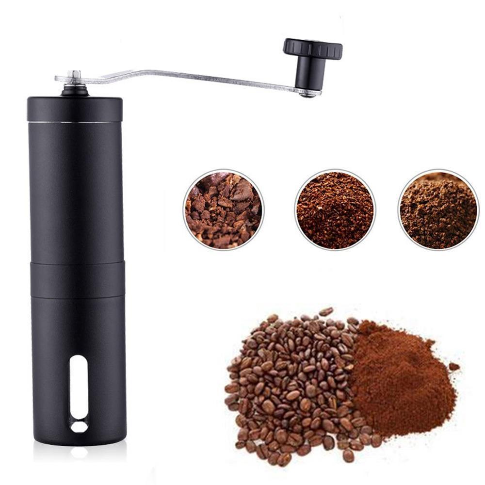 2 크기 수동 세라믹 커피 분쇄기 고무 루프 반지와 스테인레스 스틸 조절 커피 콩 밀 쉬운 청소 주방 도구