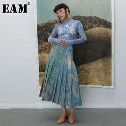 [EAM] cintura alta elástica plisada Plaid estampado contraste Color medio cuerpo Falda Mujer moda marea nueva primavera otoño 2019 1B741
