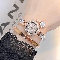 Ladies Fashion Wrist Watch Women Flower Shape Jewelry Bracelet Watches Crystal Ladies Quartz Clock Gifts
