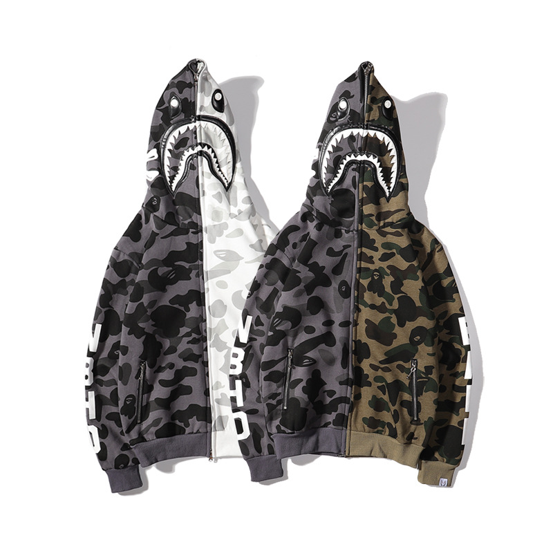 19ss Europe And America Casual FW Japanese Trend Joint Camouflage Shark Hoodie Zipper Popular Couples Men's Sweatshirts & Hoodie