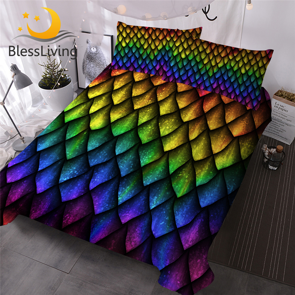 BlessLiving Dragon Scales Quilt Cover Rainbow Bedding Set Luxury Queen Colorful Bedspreads Bed Clothes Juego De Cama 3 Pieces