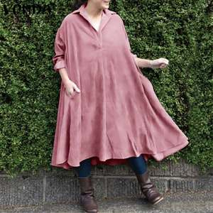 Shirt Dress 2020 VONDA Women Casual Turn Down Neck Long Sleeve Mid-Calf Length Dresses Plus Size Bohemian Vestidos S-5XL Robe