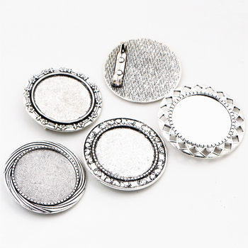 5pcs 30mm Inner Size 4 Style Antique Silver Plated Colors Classic Style Brooch Pin Classic Style Cabochon Base Setting 3pcs 18x25mm inner size antique silver brooch pin classic style cameo cabochon base setting c2 30