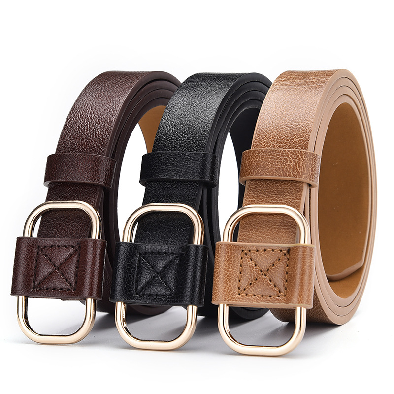 Fashion Women Thin Belt For Jeans Faux Leather Belt Ladies Casual Dress Waist Band Belts 105cm Black Brown Khaki