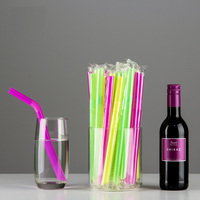 500 Pcs Disposable Plastic Straws Individually wrapped Curved juice Milk tea pointed drinking straw Wedding party Store