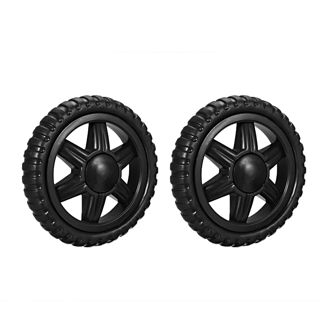 Uxcell New Hot 2Pcs Shopping Cart Wheels 5 Inch Dia Travelling Trolley Caster Replacement Rubber Foaming Black