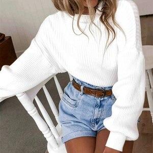 High Street Women's Spring Puff Long Sleeve High Turtleneck Pullover Jumper Hoodies Sweatshirt Tops