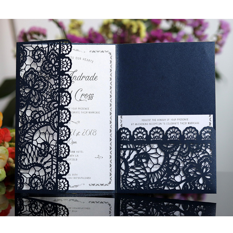Us 0 44 36 Off 1pcs Elegant Laser Cut Wedding Invitation Card Greeting Card Customize Business Card With Rsvp Card Wedding Decor Party Supplies On