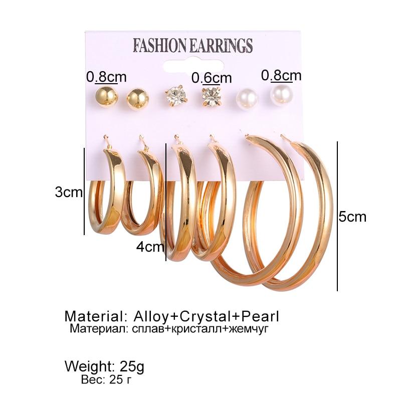 VKME Vintage Big metal Drop Earrings Set For Women Geometric Circle Gold Metal Knot Dangle Earring Femme Fashion Jewelry New