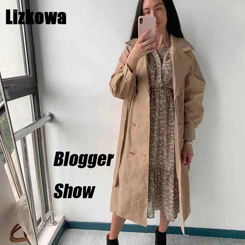 86c9f0a27 Autumn 2019 Woman British Style khaki Long Trench Coat Vintage Puff Sleeve  Long Dust Coat Temperament Waist Lace-up Loose Jacket