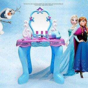 Дисней Замороженные детские игрушки для девочек принцесса игрушки макияж стол игрушка Косметика чемодан набор игрушек для девочек детский...